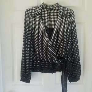 WHBM/ polka dot faux wrap blouse